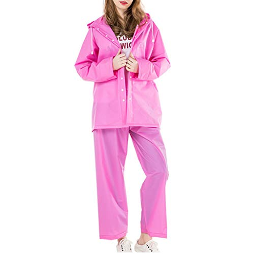 Women'S Adult Rain Suit - Waterdicht En Winddicht Hooded Regenjas Groen Materiaal Vent Ontwerp Outdoor Werk Bergbeklimmen Roze