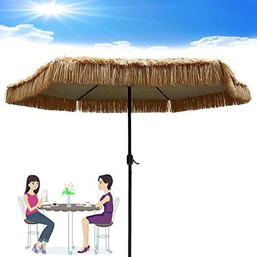 LDJ Sombrilla Estilo Hawaiano Sombrilla De Playa 8 Costillas Exterior Jardín Sombrilla Protección UV Mesa Pantalla Parasol, para Playas Fiestas Decoraciones, con Manivela
