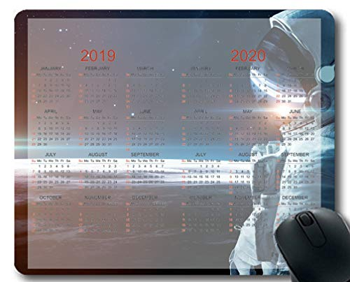 Flying Pig Man 2019-2020 Calendar Pads,Space Astronaut Sunrise Starry Sky Planet Surface Gaming Mouse mat ?Multi 125?