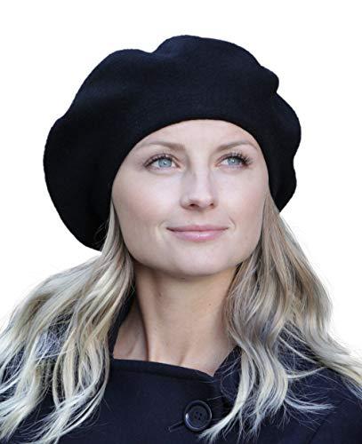 Hilltop Baskenmütze/Mütze/Strickmütze / 100% Angora/in schwarz, Mütze:Schwarz
