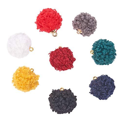 PandaHall 80ocs 8 colores de terciopelo pompones aretes, dijes de borla de tela, abalorios de joyería con tapa de pétalos dorados para pendientes colgantes y llavero