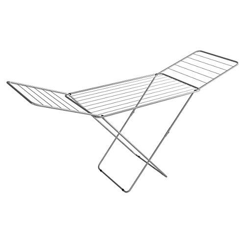 axentia Wäscheständer groß, Edelstahl, Grau, 131 x 55 x 4 cm