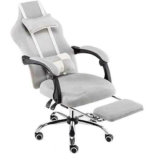 Gaming Chair Für Erwachsene Computer Video Chair Liegender E-Sport Racing Style Verstellbar Mit Fußstütze Bequem Und Atmungsaktiv,Grey-mesh