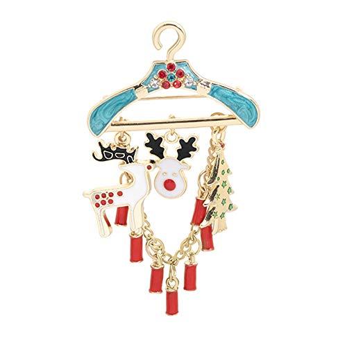 Sanheng Brosche mit Weihnachtsmotiv, Motiv: Elch, Schneemann, Blau