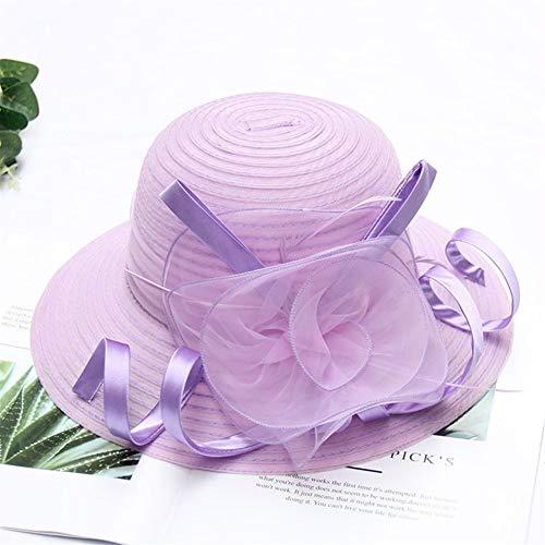 MAIZ Hochzeitshut Weiblicher Sommer Anti-UV-Sonnenhut Neue Europäische Wurzel Gaze Hut Strand Sonnencreme Sonnenhut Große Ränder Faltbare Zylinder, 12 Farben (Color : Light Purple)