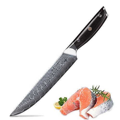 TURWHO Damastmesser Küchenmesser 20cm Profi extra Scharf Messer Chefmesser Allzweckmesser aus Damaskus Stahl Köche Messer zum Schneiden