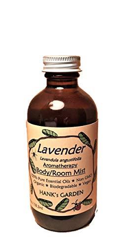 LAVENDER Aromatherapy Body and Room Mist Spray - (Lavandula angustifolia) Cruelty Free,100% Pure Essential Oils, Organic, Vegan, Biodegradable, Non GMO, No Palm Oil (4 oz Refill)