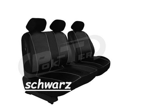 POK-TER-TUNING Maßgefertigter Sitzbezug für VIVARO II ab 2014-2018. Fahrersitz + 2er Beifahrersitzbank Kunstleder In diesem Angebot SCHWARZ (In 7 Farben bei Anderen Angeboten erhältlich)
