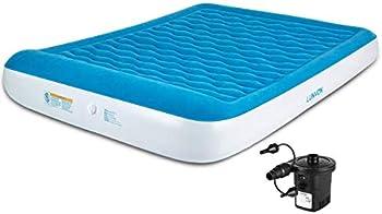 Lunvon Matelas Gonflable 2 Personnes - Lits Gonflables Air Bed avec Pompe Rechargeable Électrique Portable pour Maison, Invités, Camping Extérieur, Voyage, 205 x 157 x 25cm, Bleu