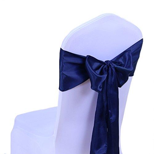 SINSSOWL 100PC Rubans en Satin Housse de Chaise Noeud Rubans nœuds de Mariage décoration de Ceremonie Fête événement Anniversaire 17 x 275cm 20 Colours-Bleu Marine