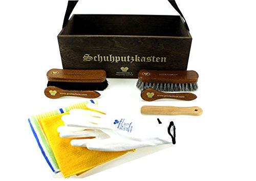 protectore Schuhputzkasten RETRO M dunkelbraun 9-teilig (mit Inhalt, gefüllt) - Schuhputz Set