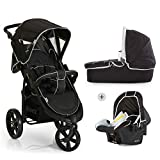 Hauck Viper SLX Trio Set 3 Wheel Pushchair up to 25 kg + Group 0 Car Seat + Carrycot, Mattress from Birth, Buggy with Lying Function, Adjustable Handle, Small Folding - Black