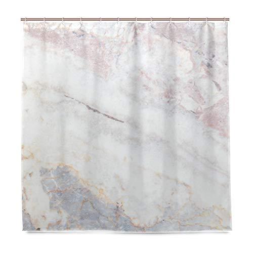 BALII Duschvorhang aus grauem Marmor, 182,9 x 182,9 cm, Polyester, wasserdicht mit 12 Haken für Badezimmer