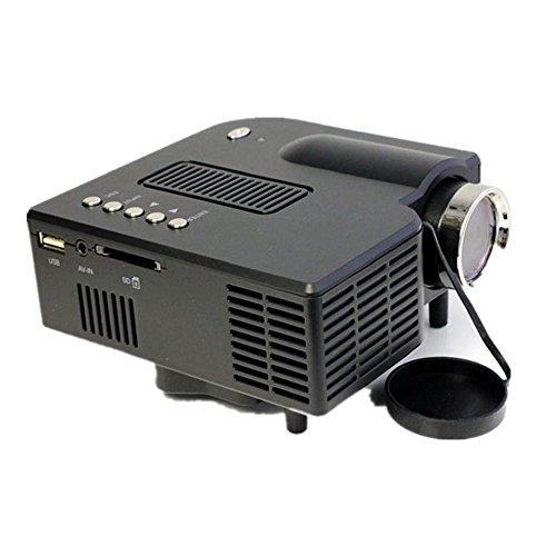 Mini proiettore LCD, xjp UC28Multi Media HD 1080P Portable Home LED Projector Support for VGA HDMI USB SD Black