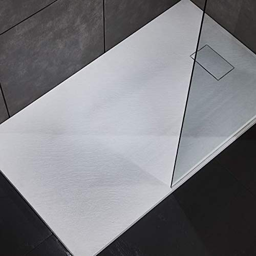 Piatto doccia effetto pietra in resina struttura a nido d'ape riducibile con piletta di scarico (120 x 70, Bianco)