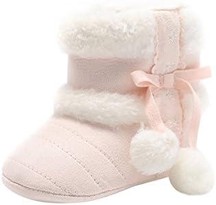 Fossen Zapatos Bebe Niña Primeros Pasos Invierno Botas de nieve con PomPon y Loop Fastener