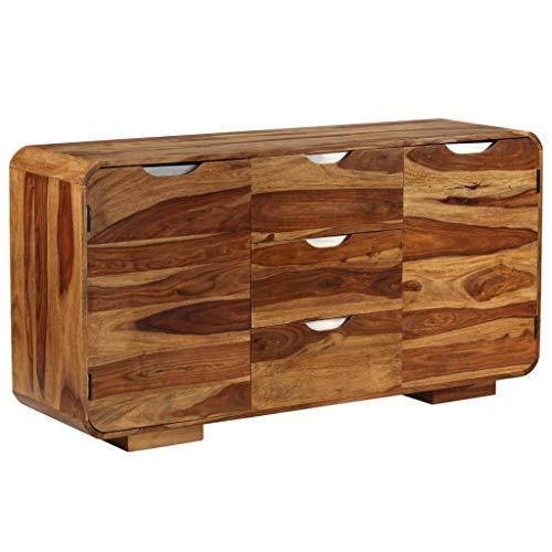 UnfadeMemory Sideboard Kommode Beistellschrank aus Massives Sheesham-Holz Wohnzimmer oder Esszimmer Holzkommode Standschrank 145 x 40 x 75 cm