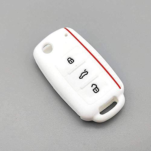 Funda de protección para llave de coche, funda de silicona para llave de coche, para Volkswagen Bora Polo Golf Passat Blanco
