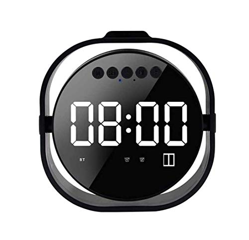 ZOUSHUAIDEDIAN Reloj despertador para habitaciones, reloj despertador digital, altavoz de Bluetooth portátil, Pantalla LED duplicada, Doble Reloj de alarma, Cargador USB, Reloj despertador para dormit
