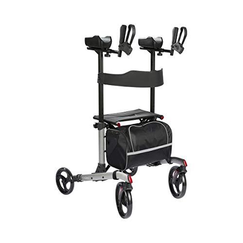 Rollator mit Arthritisauflage, Arthritisrollator mit gepolsterter Armauflage | Sitzfläche, leicht lenkbar, faltbar, inkl. Tasche & Gehstockhalter