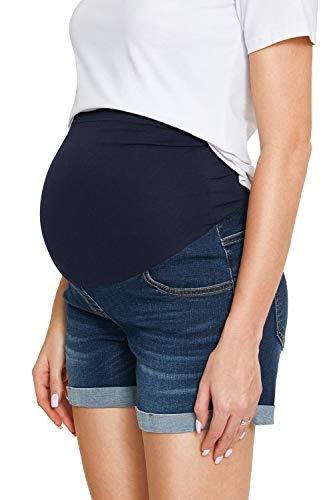 Damen Jeansshorts Strecken Umstandsshorts mit Bauchband für Sommer Hotpants (L, Blau 03)