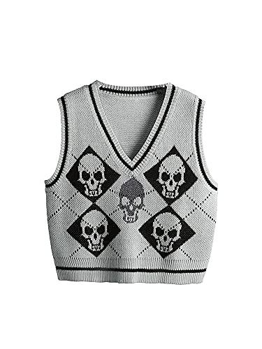 TNGXXWL Mujeres de punto sin mangas suéter chaleco Y2K gótico con cuello en V SkeletonArgyle Impreso Tank Top Preppy Uniforme Pullover Tops, gris, XL