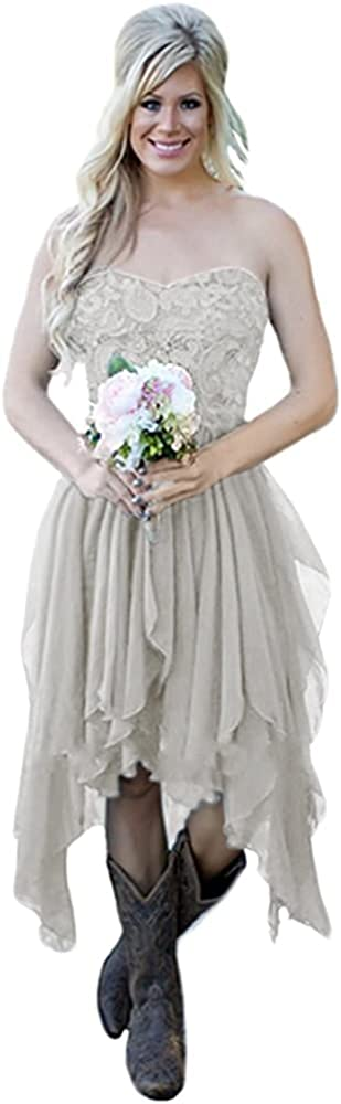 Andybridal Cheap Country High Low Chiffon Lace Beach Wedding Guest Cocktail Party Bridesmaid Dress