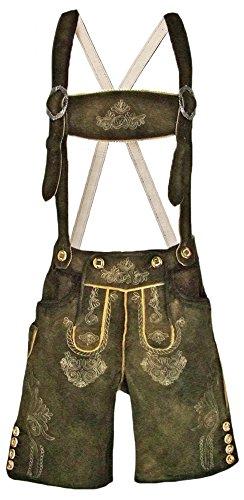 Lekra Trachten Lederhose Rafael mit Stegträger Gr. 44 - Kurze Lederhose für Herren - Markenware Olivbraun