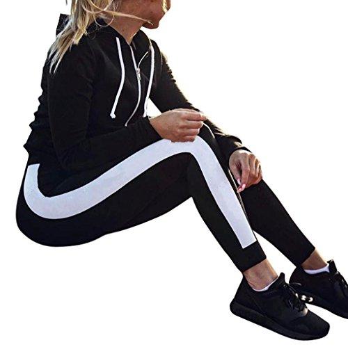LMMVP Yoga Laufsport Hosen Hohe Taille Workout Leggings Fitness Hosen (M, Black)