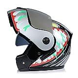 WWMH Flip Up Klapphelm Helm Motorradhelm Integralhelm (S-XL) Mit Doppelvisier Versilberter Spiegel Für Damen Und Herren,C,S