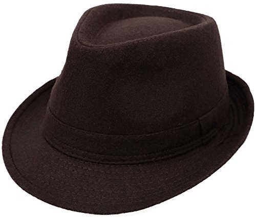 Simplicity Unisex Fedora Hats for Women Manhattan Fedora Hat, Brown