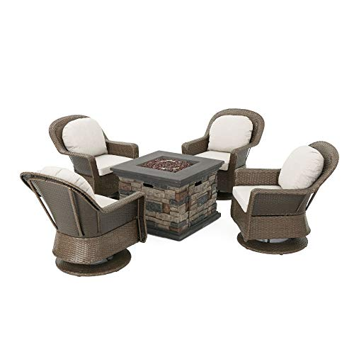 5pc Brown and Ceramic Gray Contemporary Outdoor 4 Seater Chat Set with Fire Pit