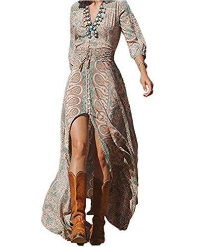 GWEI】Damen Lange Bohemia Strand Kleid Tiefer V-Ausschnitt Drucken Cocktail Party Kleid (Bildfarbe, S)
