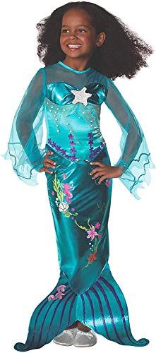Tante Tina Kostüm Meerjungfrau Kinder - Meerjungfrau Kostüm für Kinder mit bodenlangem Rock und Schlitz für mehr Bewegungsfreiheit - Blau - Größe M ( 128 ) - geeignet für Kinder von 6 bis 8 Jahren
