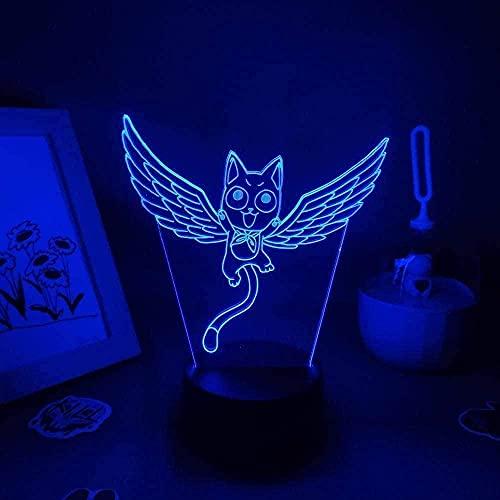 Anime Fairy Tail Happy Süße Fliegenkatze USB RGB LED Nachtlichter Bunte Geburtstag Weihnachtsgesgeschenke Manga Schlafzimmer Tischdekor 3D Lámpara-Control táctil
