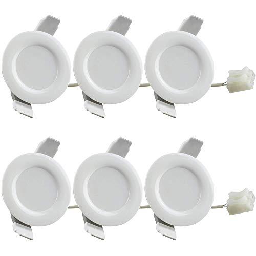 6x jeu de spots encastrés LED 4W blanc neutre super plat 230V - convient également pour la salle de bain, extérieur IP44 - trou de forage Ø75mm rond, design élégant, fabrication de | blanc neutre