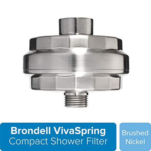Brondell VivaSpring Compact Shower Filter, Brushed Nickel  High Output, 100% High-Purity KDF Filtration, With FF-30 Filter Cartridge, Filtered Shower Water for Healthier Skin & Hair