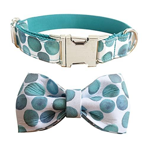 YSJJLRV Correa Collar de Perro de patrón de Burbujas y Correa con Collar de Pajarita con Botones de Metal para Mascotas (Color : Collar Bow, Size : S)