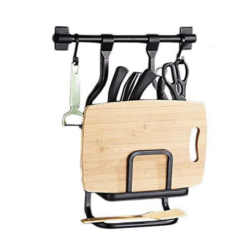 HYYDP ripiano della Cucina Cucina Stoccaggio Portaposate Forbici Cucina Rack Alluminio Scarico Nero Gancio Tagliere a Parete Multi-Funzione for Uso Domestico Pentole Holder 23cm * 48cm