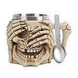 Creative 3D divertente tazza da caffè con teschio in resina in acciaio inox, 301-400 ml, con cucchiaio per caffè, bevande, succo di birra, mani coprono gli occhi