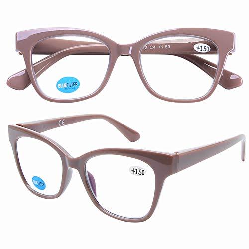 DOOViC Blaulichtfilter Lesebrille Beige/Eckig Rahmen Große Gläser Federscharnier Computer Brille mit Sehstärke für Damen/Herren 1,5