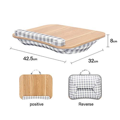 YAOJP Laptopkissen Für Bett Schaumpartikel Siesta Kissen Massivholz Betttablett Lapdesk Mit Tragegriff Für Autos Sofa Jobs Studium 42.5×32X8cm,Wood Color
