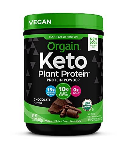Orgain Keto Plant-Based Protein Powder, Chocolate- Keto Friendly, Organic, Vegan, Gluten Free, Organic Prebiotic Fiber, 0.97 Pound