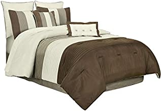 Chezmoi Collection 8 Pieces Luxury Striped Comforter Set (King, Brown/Off-White/Taupe)