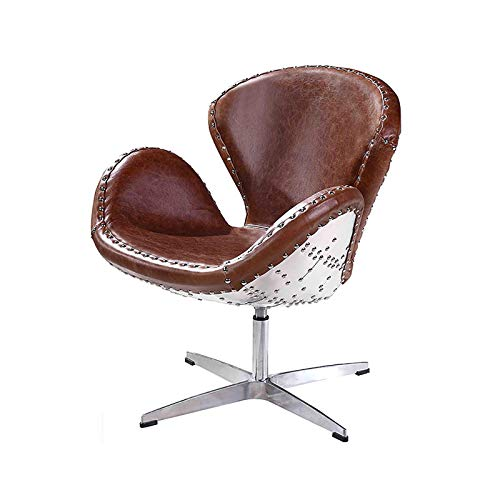 Vintage Echtleder Sessel, Retro Ledersessel Braun Design Drehsessel Lounge Clubsessel Möbel,Braun