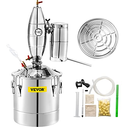 VEVOR Water Alcohol Distiller 304 Stainless Steel Moonshine Still Wine Making Boiler Home Kit with Thermometer for Whiskey Brandy Essential, Sliver (70 L)