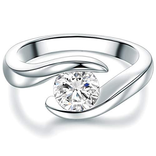 TRESOR 1934, anello di fidanzamento solitario da donna, in argento Sterling, con zircone bianco taglio a brillante e argento, 54 (17.2), colore: argento, cod. 60181021215