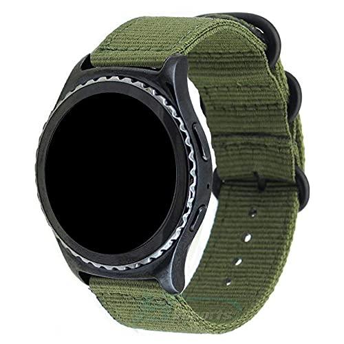 Pulseira 22mm Militar Nylon compatível com Samsung Galaxy Watch 3 45mm - Galaxy Watch 46mm - Gear S3 Frontier - Amazfit GTR 47mm - Marca LTIMPORTS (Verde)