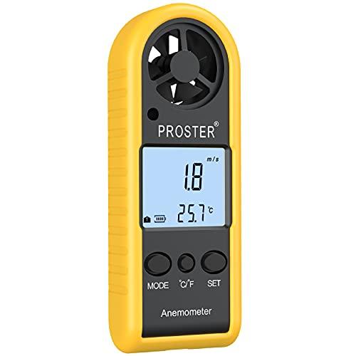 Anemómetro Digital de Mano con Pantalla LCD Medidor de Velocidad del Viento con Retroiluminación Termómetro de Viento para Navegación Pesca Actividades al Aire Libre
