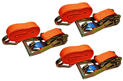 Red Tools Spanngurt Ratschenspanngurt 5 Meter Lang 50mm Breit bis zu 4 Tonnen im 3 TLG. Set Gewerblich und Privat nach DIN Norm